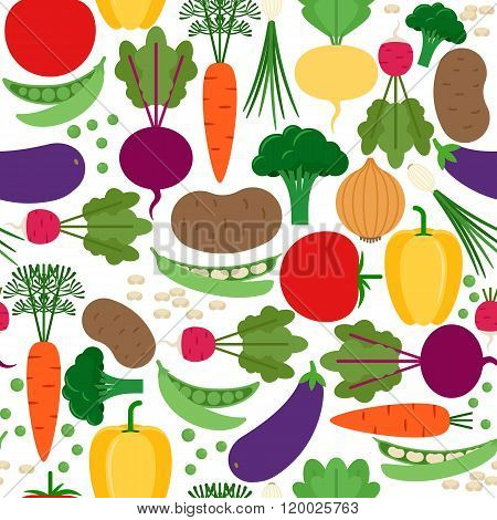 Seamless pattern with different vegetables