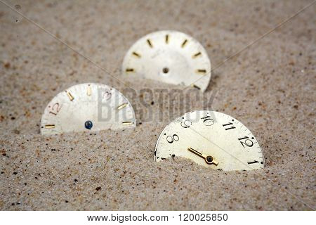 Time concept with a cklock on the sand