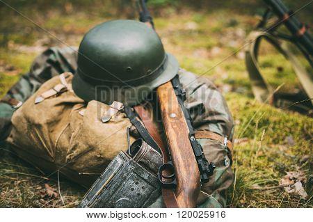 German military ammunition of World War II on ground. Military h