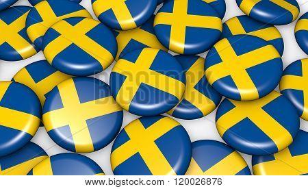 Sweden Flag On Badges Background