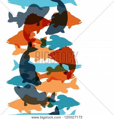Seamless pattern with various fish. Background made without clipping mask. Easy to use for backdrop,