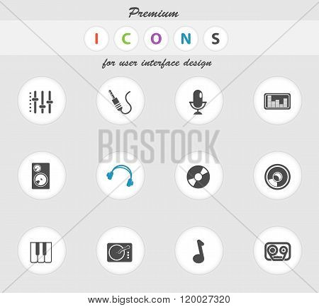 Audio and music simple vector icons