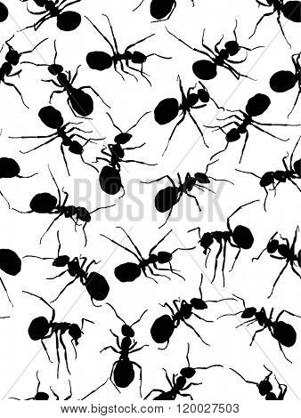 illustration with black ant silhouettes seamless background