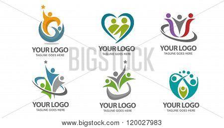 people family community care logo set