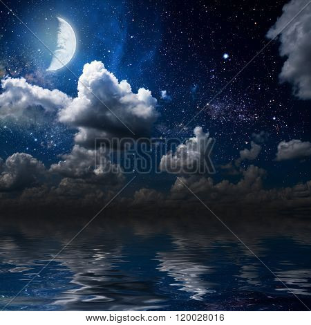 moon on a background star sky reflected in the sea. Elements of this image furnished by NASA
