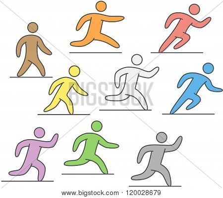 Linear silhouettes of runners. Vector figures athletes running. Line running icons and logo. Running and marathon symbol.