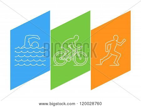 Color line logo triathlon. Vector linear figures triathletes. Figure triathlon athletes. Triathlon swimming cycling and running.