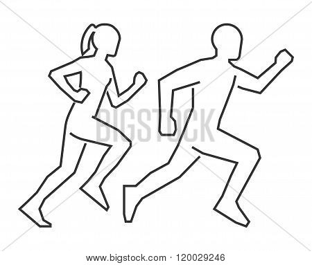 Linear shapes runners. Line silhouettes of a man and a woman. Vector figure runners. Running icon and symbol. Outline shapes runners.