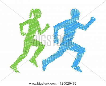 Shaded silhouettes runners. Pencil silhouettes man and woman. Vector figure runners. Green and blue running icon and symbol.