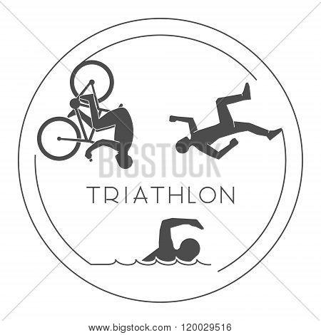 Black logo triathlon. Vector figures triathletes on a white background. Line figure triathlon athletes. Swim cycle and run icons.
