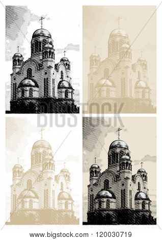 Vector background with church at engraving style