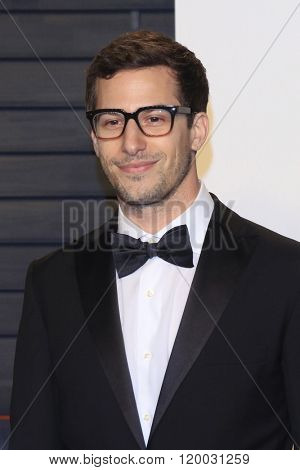 BEVERLY HILLS - FEB 28: Andy Samberg at the 2016 Vanity Fair Oscar Party on February 28, 2016 in Beverly Hills, California