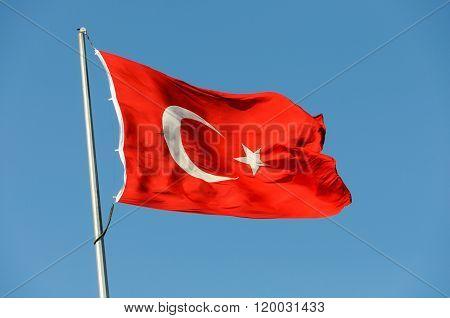 Turkish flag on a flagpole