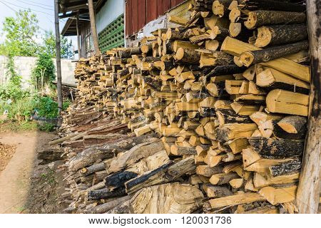 Background Of Firewood Near House