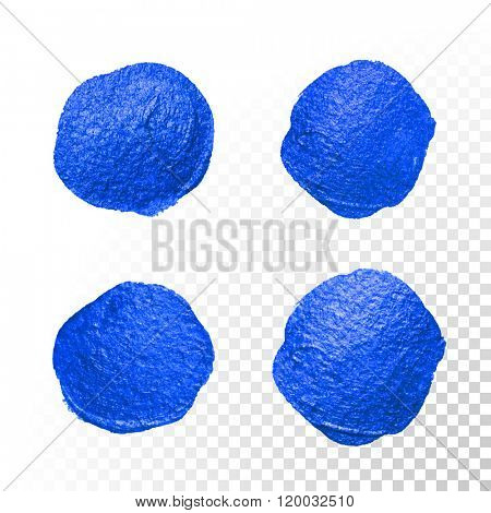 Deep blue watercolor brush blob strokes set. Abstract circle shape. Vector oil paint blot smears on white background