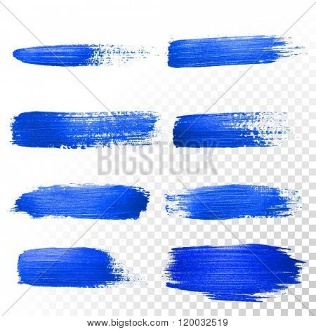 Deep blue watercolor brush strokes set. Abstract shape. Vector oil gouache paint smear on white background