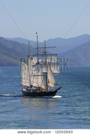 Tall ship in the Cook Strait, New Zealand