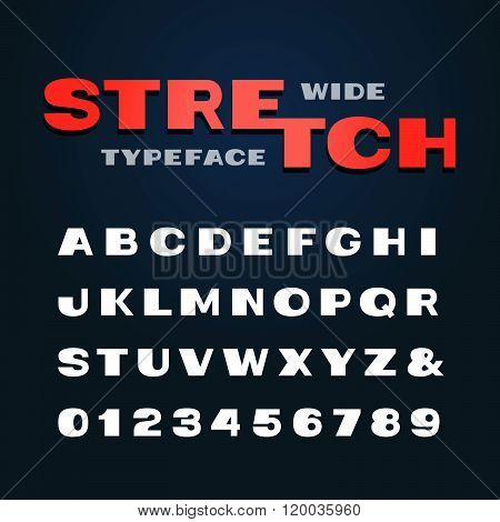 Wide Font. Vector Alphabet With Stretch Effect Letters And Numbers.