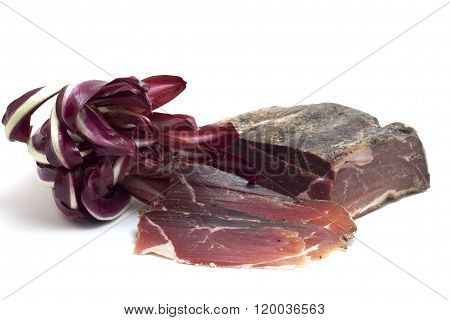 red radicchio salad and bacon