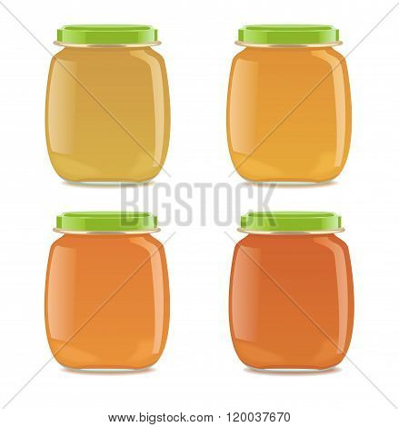 Four glass jars with baby food
