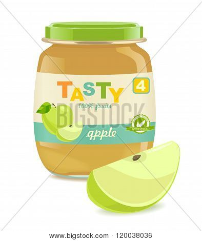 Glass jar with apple baby food