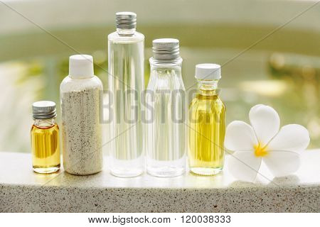 Spa decoration, natural organic bath products in the bathroom