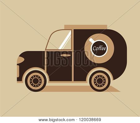 flat picture  car  delivering coffee icon