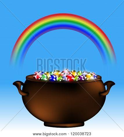 rainbow and pot of gems