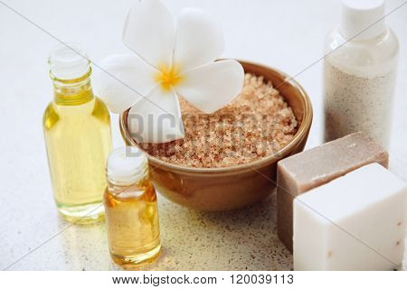Spa decoration, natural organic bath products set