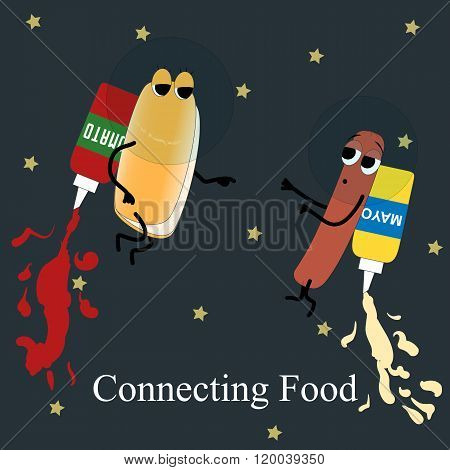 Fast Food Poster Hotdog And Mayo In Space