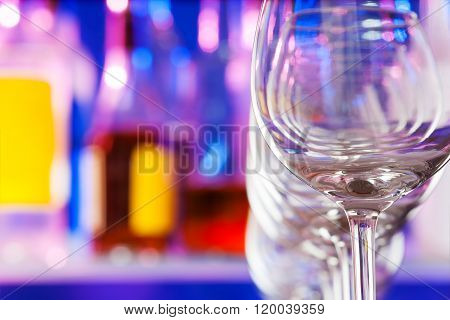 Composition of wine glasses in the bar