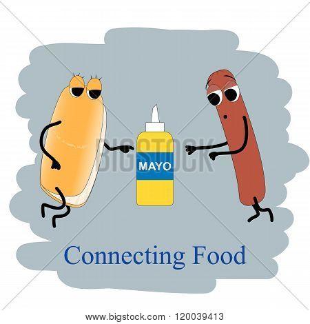 Fast Food Poster Hotdog And Mayo