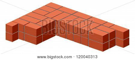Brickwork. Masonry bricks in half. Construction of a brick wall. Brick stacking scheme