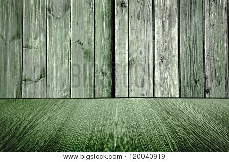 For business product design - Rustic, pale green, wooden backdrop - pastel background design, wood floor with diminishing perspective / blur / motion effect.