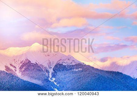 Sunset view of the mountain peak in Caucasus