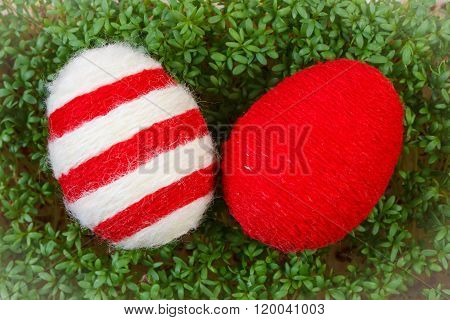 Easter Eggs Wrapped Woolen String And Green Cress, Decoration For Easter