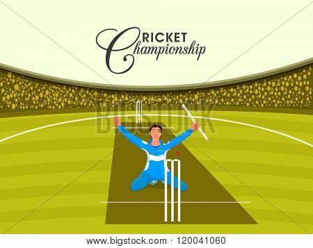 Illustration of a player in winning pose on stadium background for Cricket Championship concept.