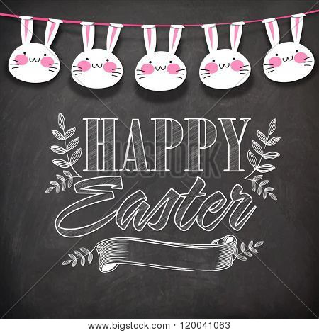 Elegant greeting card design decoarted with stylish text Happy Easter, blank ribbon and cute hanging bunnies on chalkboard background.