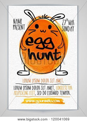 Creative Invitation Card design with illustration of bunny in egg shape for Easter Egg Hunt celebration.