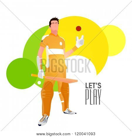 Illustration of a Cricket Player in uniform holding bat and ball on abstract background.