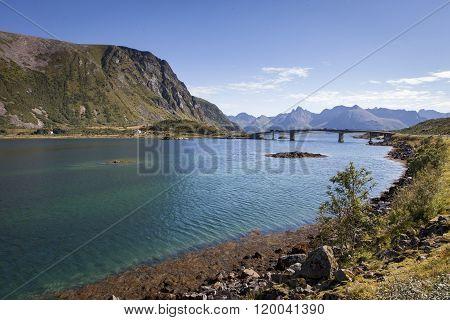 Picture of a bridge crossing a deep fjord at Lofoten islands