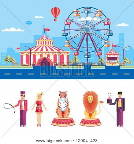 Circus with animal trainers and magician