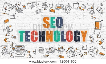 SEO Technology Concept. Multicolor on White Brickwall.