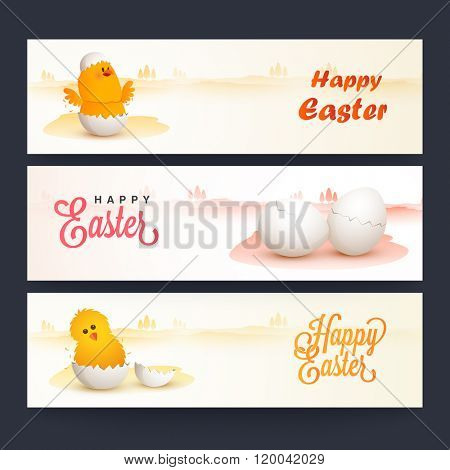Creative website header or banner set decorated with cute chicks and cracked eggs for Happy Easter celebration.