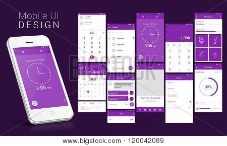 Material Design UI, UX Screens, flat web icons for mobile apps, responsive websites with Calling, Calendar, Contact List, Message, Stopwatch, Music, Calculator, Security, Search, Data Usages Features.