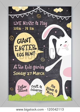 Creative Invitation Card design with illustration of cute bunny and eggs showing party details for Giant Easter Egg Hunt celebration.