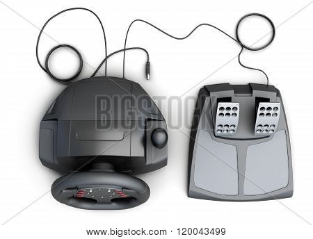 Game racing wheel and pedals on a white background. 3d rendering