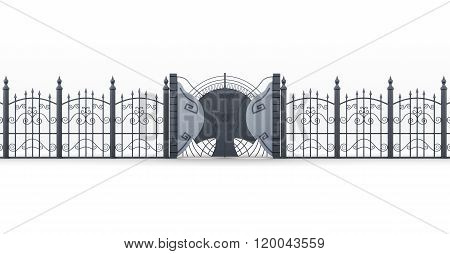 Wrought iron gate with fence on white background. 3d rendering