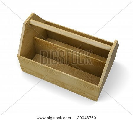 Wooden empty tool box on white background. 3d rendering