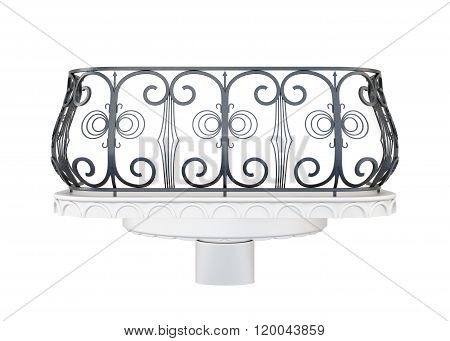 Balcony with a decorative railing isolated on white background